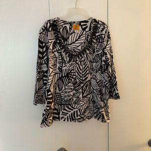 Ruby Rd Black/White Pattern Blouse
